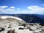 Half Dome is so high that it invites snow during the summer time.